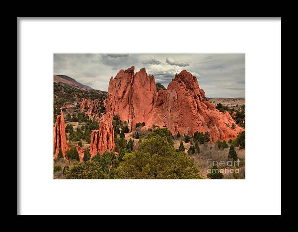 Garden Of The Gods Framed Print featuring the photograph Pink Towers Of The Gods by Adam Jewell