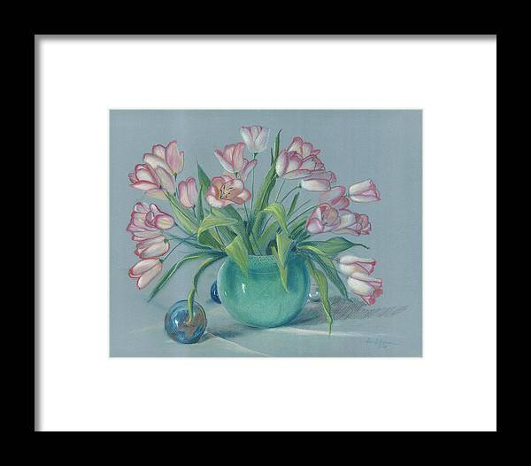 Flowers Framed Print featuring the painting Pink Tulips In Green Vase by Dan Redmon