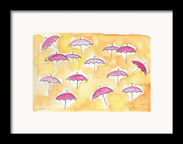 Umbrellas Framed Print featuring the painting Pink Umbrellas by Linda Woods