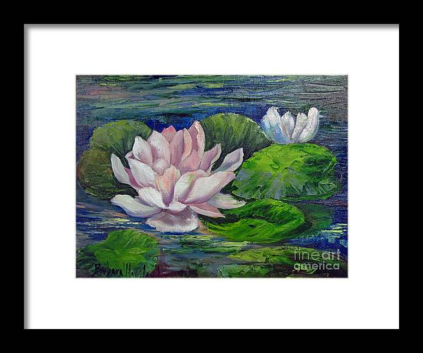 Pink Water Lilies Framed Print featuring the painting Pink Water Lilies By Barbara Haviland by Barbara Haviland