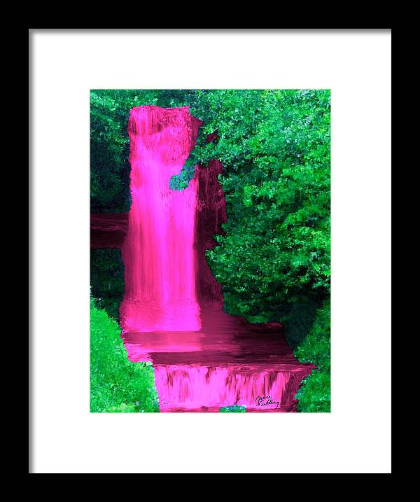 Pink Framed Print featuring the painting Pink Waterfall by Bruce Nutting
