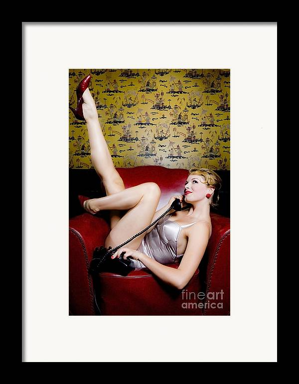 Bathing Suit Framed Print featuring the photograph Pinup Girl With Phone by Diane Diederich