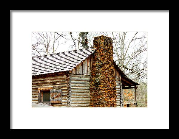 Rock Chimneys Framed Print featuring the photograph Pioneer Log Cabin Chimney by Kathy White