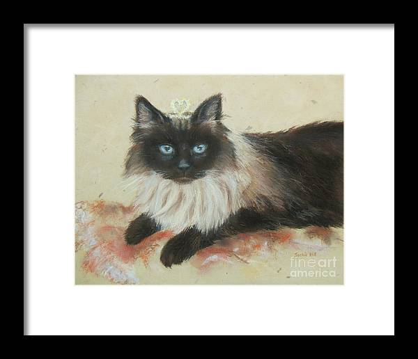 Cat Framed Print featuring the painting Piper by Jackie Hill