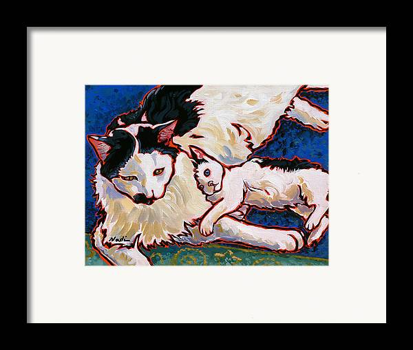 Cat Framed Print featuring the painting Pirate And June by Nadi Spencer