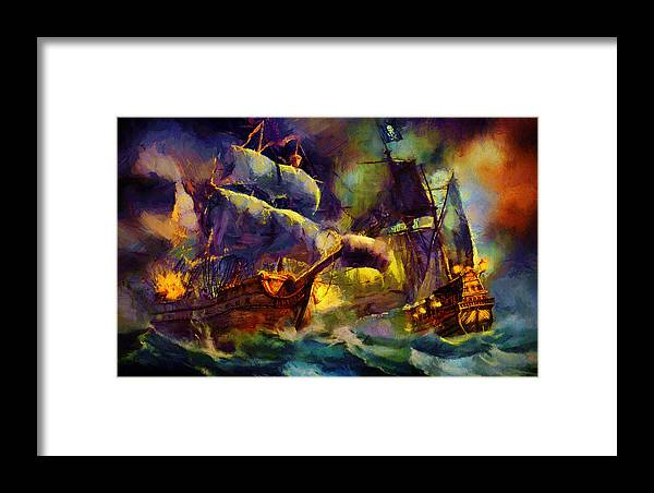 Landscape Framed Print featuring the painting Pirate Battle by Christopher Lane