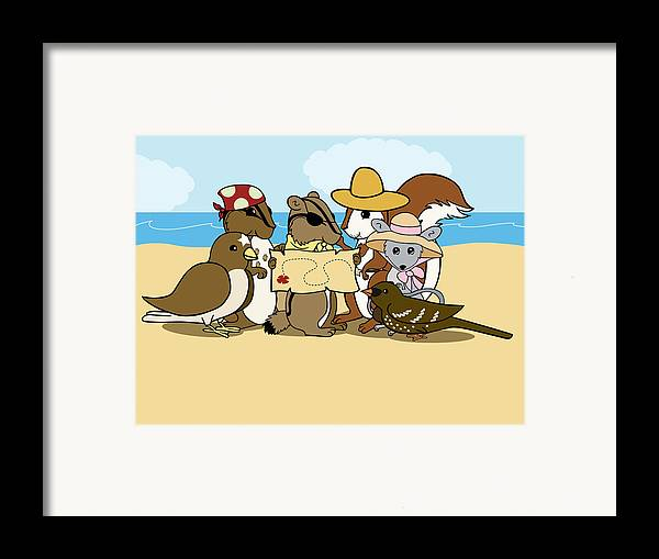 Chipmunk Framed Print featuring the digital art Pirate Map by Christy Beckwith