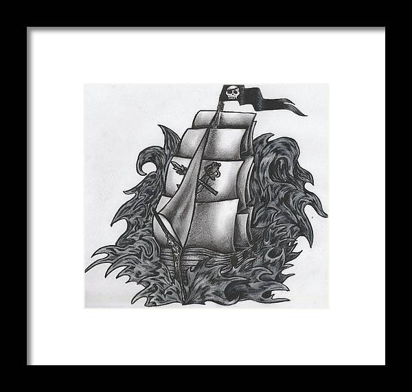 Charcoal Framed Print featuring the drawing Pirate Ship Bw by Melissa Sink
