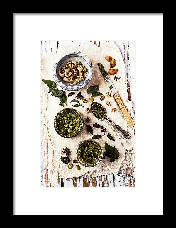 San Francisco Framed Print featuring the photograph Pistachio Pesto With Mortar, Jars And by One Girl In The Kitchen
