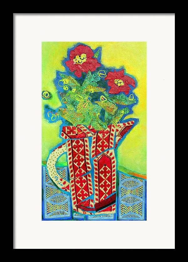 Flowers In A Vase Framed Print featuring the mixed media Pitcher Patterns by Diane Fine