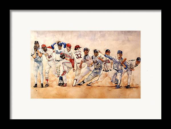 Pitchers Framed Print featuring the painting Pitching Windup by Michael Pattison