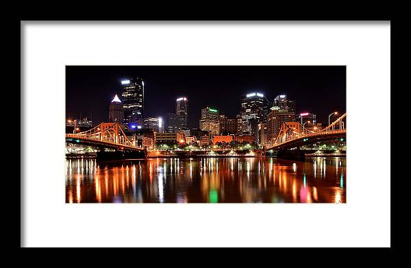 Pittsburgh Framed Print featuring the photograph Pittsburgh Panorama by Frozen in Time Fine Art Photography