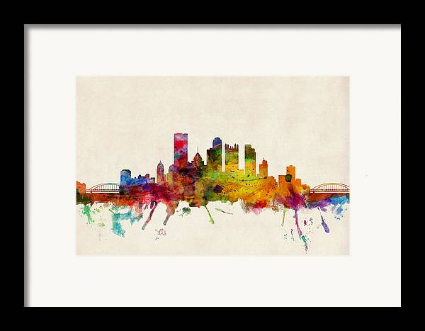 Watercolour Framed Print featuring the digital art Pittsburgh Pennsylvania Skyline by Michael Tompsett