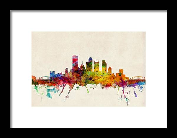 Watercolour Framed Print featuring the digital art Pittsburgh Pennsylvania Skyline by Michael Tompsett