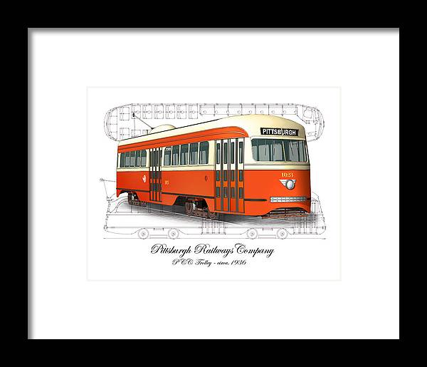 Pittsburgh Railways Company Pcc Trolley Framed Print by Carlos F ...