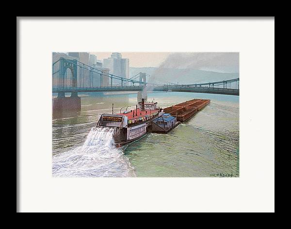 Pittsburgh Framed Print featuring the painting Pittsburgh River Boat-1948 by Paul Krapf