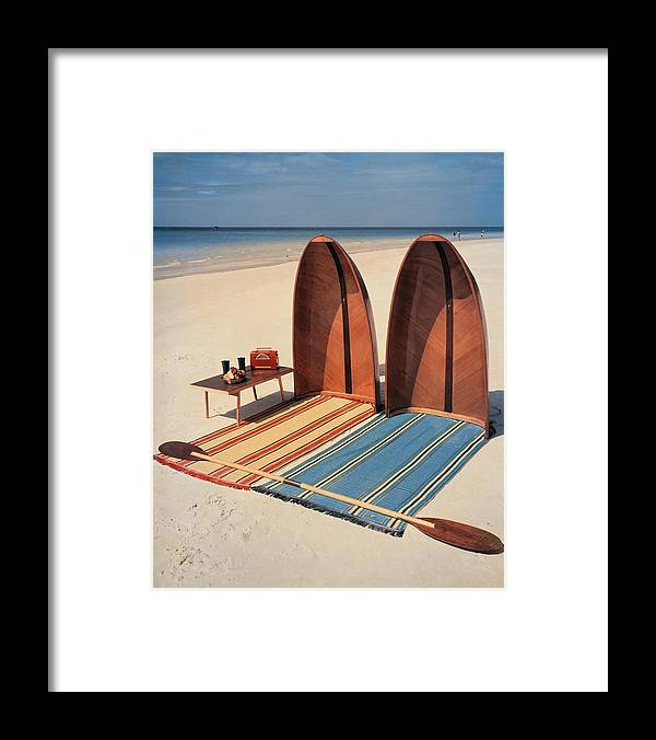 Accessories Framed Print featuring the photograph Pixie Collapsible Boat On The Beach by Lois and Joe Steinmetz