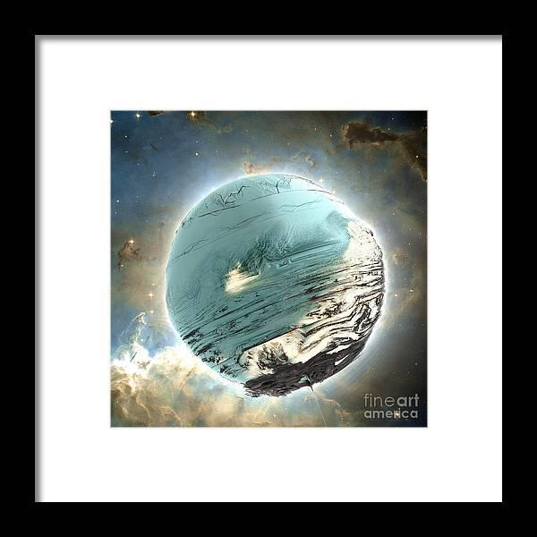 Fractal Art Framed Print featuring the digital art Planet Blue by Bernard MICHEL