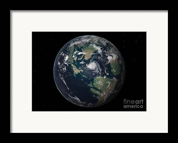 Earth Framed Print featuring the digital art Planet Earth 90 Million Years Ago by Walter Myers