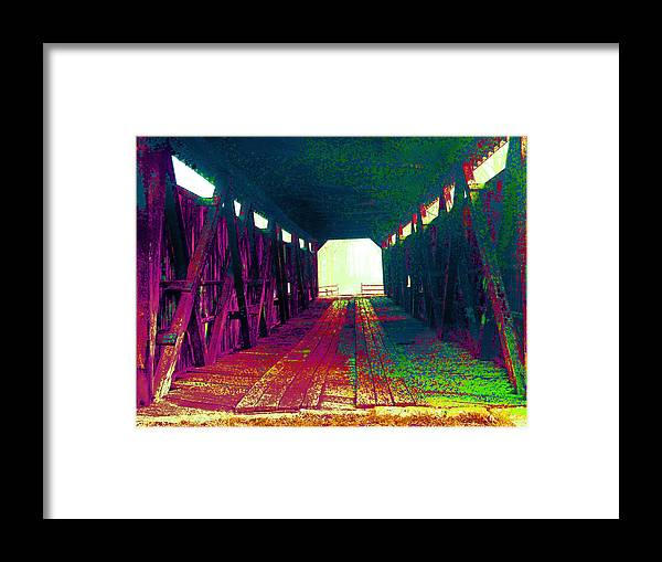 Covered Bridge Framed Print featuring the digital art Planks To Mercer by Joseph Wiegand