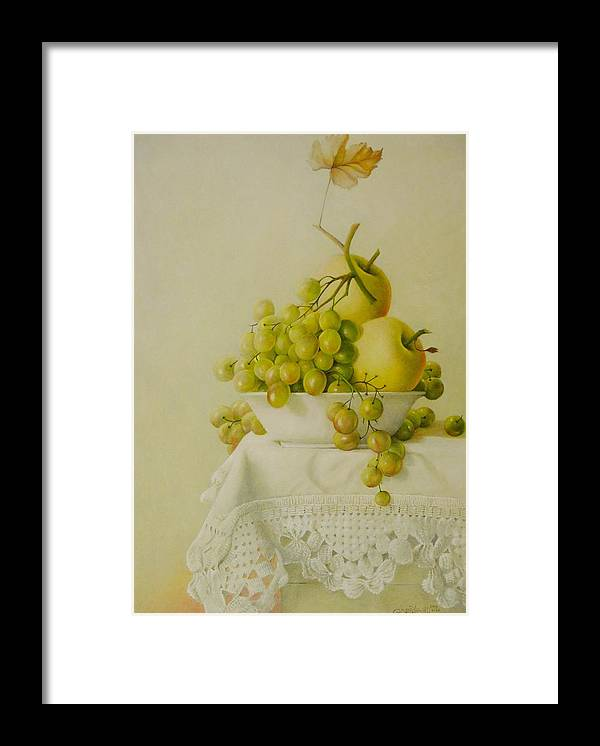 Giuseppe Mariotti Framed Print featuring the painting Plate with Fruit by Giuseppe Mariotti