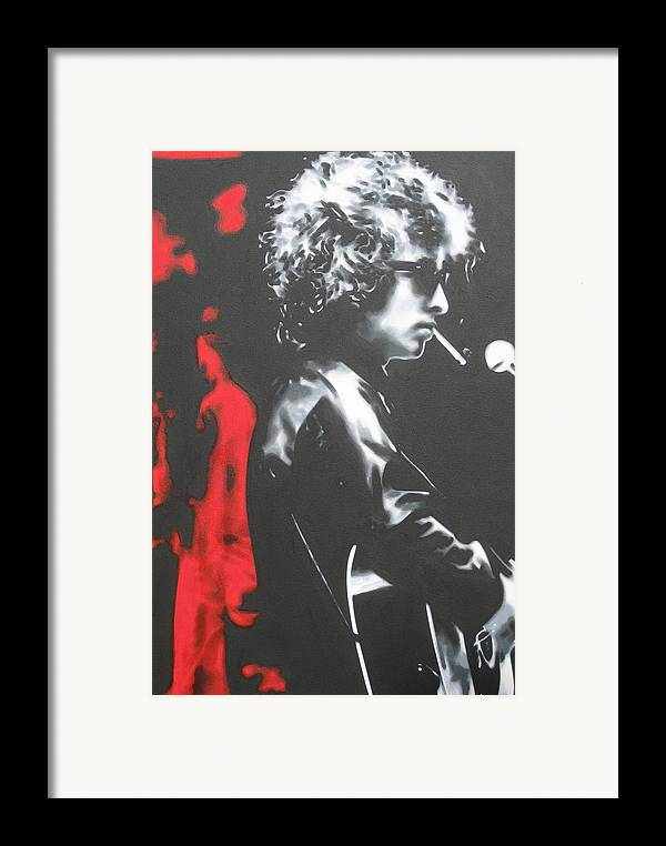 Bob Dylan Framed Print featuring the painting Play It Fuckin' Loud by Luis Ludzska