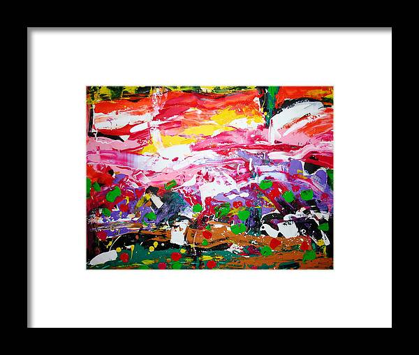 Landscape Framed Print featuring the painting Play The Sun by Giuseppe Zollo