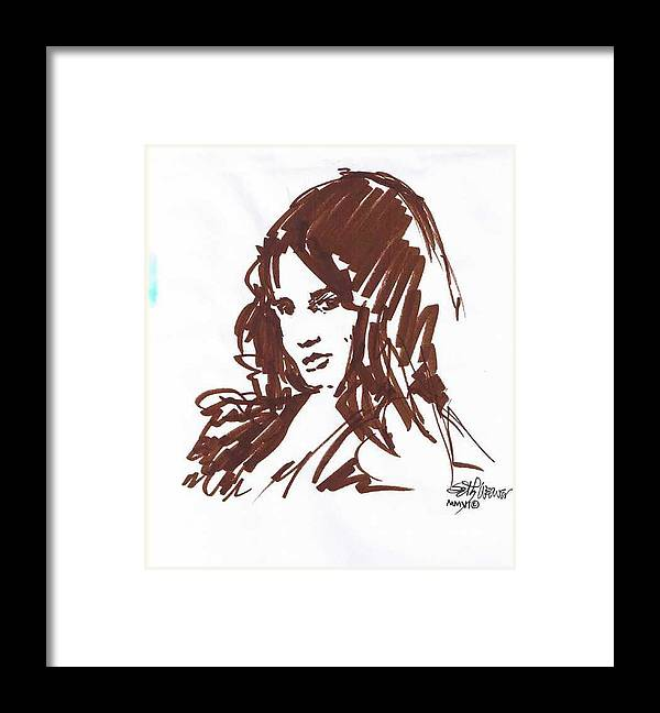 Playful Framed Print featuring the drawing Playful by Seth Weaver