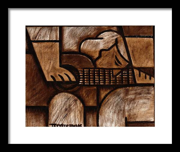 Guitar Framed Print featuring the painting Tommervik Man Playing Acoustic Guitar Art by Tommervik