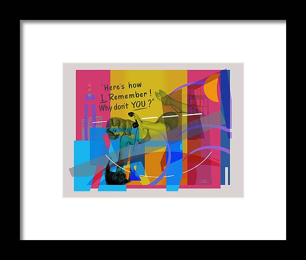 Pin Up Framed Print featuring the drawing Playing Shapes Avec Pinup 01 by MGL Meiklejohn Graphics Licensing