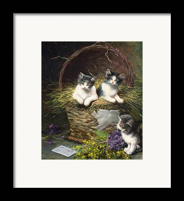 Cat Framed Print featuring the painting Playtime by Leon Charles Huber