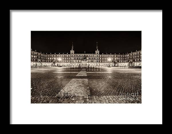 Europe Framed Print featuring the photograph Plaza Mayor After Midnight by George Oze