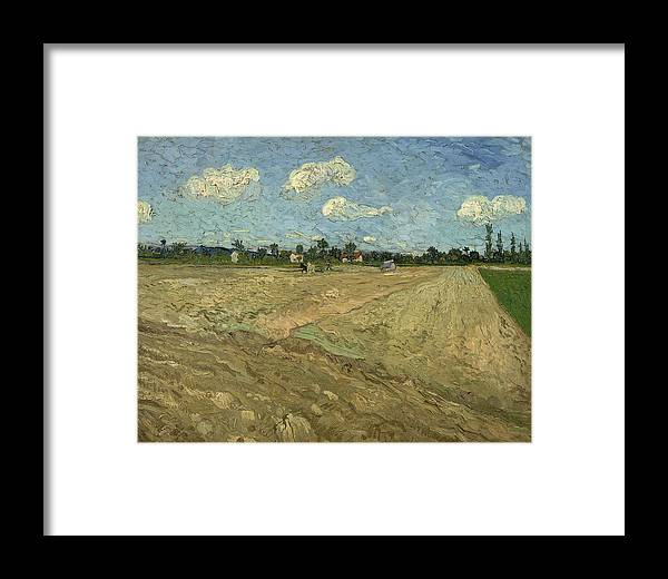 Ploughed Fields Framed Print featuring the digital art Ploughed Fields by Georgia Fowler