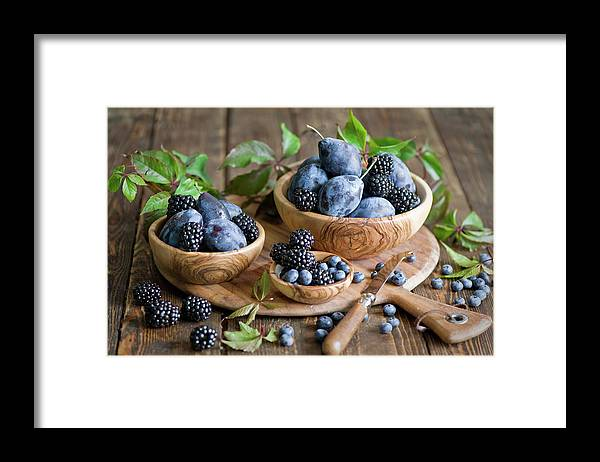 Plum Framed Print featuring the photograph Plums And Berries by Verdina Anna