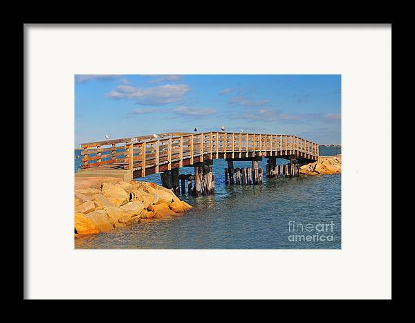 Find In Fine Art America Folder Framed Print featuring the photograph Plymouth Harbor Breakwater by Catherine Reusch Daley