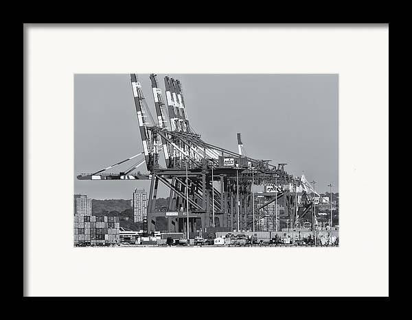 Clarence Holmes Framed Print featuring the photograph Pnct Facility In Port Newark-elizabeth Marine Terminal II by Clarence Holmes