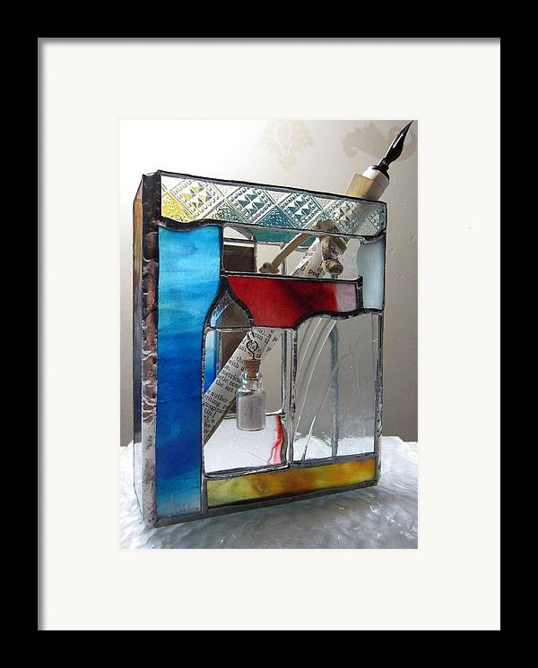 Framed Print featuring the painting Poet Windowsill Box - Other View by Karin Thue