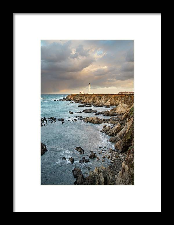 Headland Framed Print featuring the photograph Point Arena Headland And Lighthouse by Kjschoen