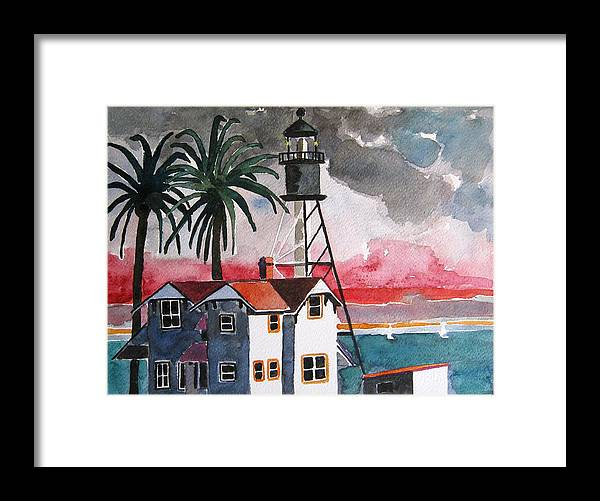 Point Loma Framed Print featuring the painting Point Loma California by Lesley Giles