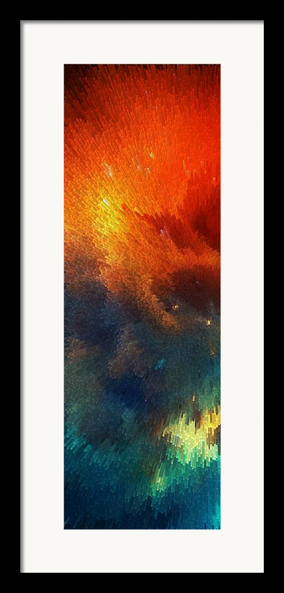 Space Framed Print featuring the painting Points Of Light Abstract Art By Sharon Cummings by Sharon Cummings