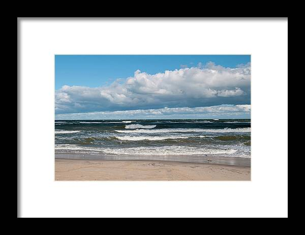 Water's Edge Framed Print featuring the photograph Poland, View Of Baltic Sea In Autumn At by Westend61