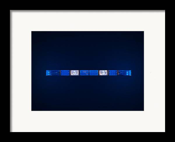 Ambulance Framed Print featuring the photograph Police Emergency Lights With Blue Surrounding Light by Fizzy Image