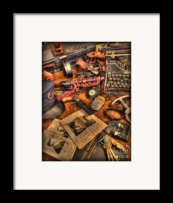 Police Framed Print featuring the photograph Police Officer- The Detective's Desk II by Lee Dos Santos