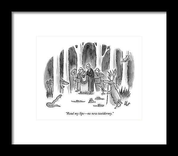Politician Delivers Speech To Frightened Animals Framed Print