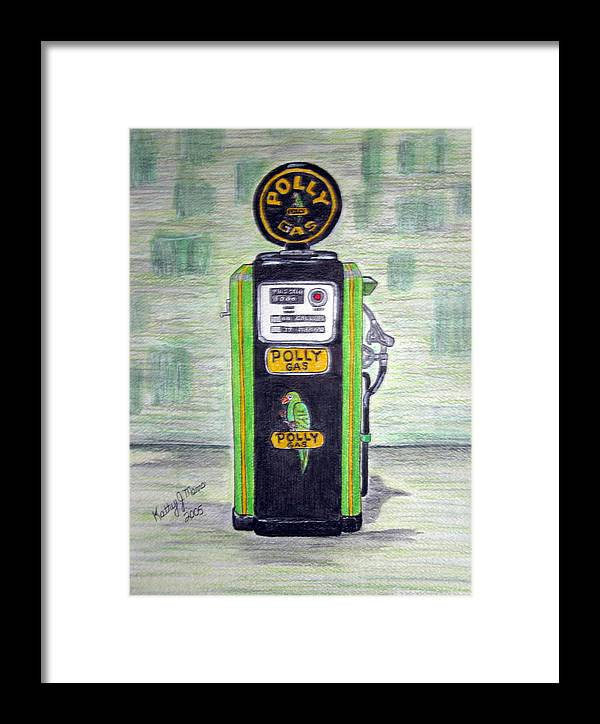 Parrot Framed Print featuring the painting Polly Gas Pump by Kathy Marrs Chandler