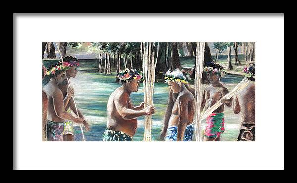 Travel Framed Print featuring the painting Polynesian Men With Spears by Miki De Goodaboom