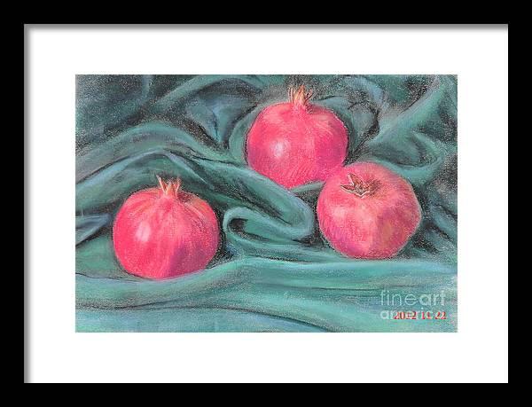3 Pomegranates Framed Print featuring the painting Pomegeranates by Ziba Bastani
