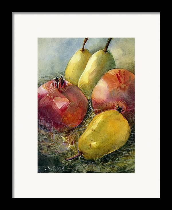 Jen Norton Framed Print featuring the painting Pomegranates And Pears by Jen Norton