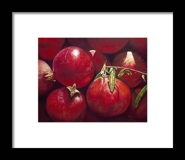 Pomegranates Framed Print featuring the painting Pomegranates by Patricia Devitt