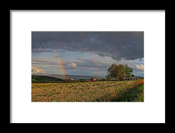 Pompey Center Rainbow Cazenovia Framed Print featuring the photograph Pompey Center Rainbow by John  Kennedy